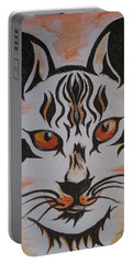 Portable Battery Charger featuring the painting Halloween Wild Cat by Teresa White