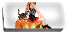 Halloween Witch Nicki With Kitten Portable Battery Charger by Renate Janssen