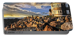 Hampton Beach Sunrise Portable Battery Charger by Fred Larson