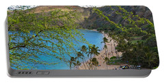 Hanauma Bay Nature Preserve Beach Through Monkeypod Tree Portable Battery Charger