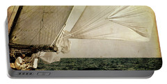 Portable Battery Charger featuring the photograph Hanged On Wind In A Mediterranean Vintage Tall Ship Race  by Pedro Cardona