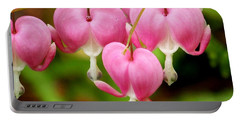 Hanging Hearts In Pink And White Portable Battery Charger by Eunice Miller