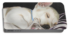 Portable Battery Charger featuring the painting Hanks Sleeping by Jeanne Fischer