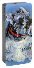 Portable Battery Charger featuring the painting Hans The Schnauzer Original Painting Forsale by Bob and Nadine Johnston