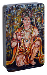 Portable Battery Charger featuring the painting Hanuman by Harsh Malik