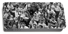 Happy Baseball Fans In The Bleachers At Yankee Stadium. Portable Battery Charger