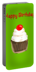 Portable Battery Charger featuring the digital art Happy Bday W A Cherry On Top by Christine Fournier