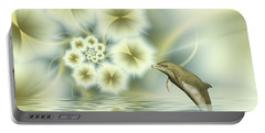 Happy Dolphin In A Surreal World Portable Battery Charger