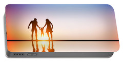 Happy Family Together Parents And Their Child At Sunset Portable Battery Charger