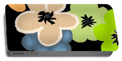 Portable Battery Charger featuring the digital art Happy Flowers Blue by Christine Fournier