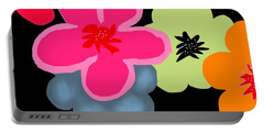 Portable Battery Charger featuring the digital art Happy Flowers Pink by Christine Fournier