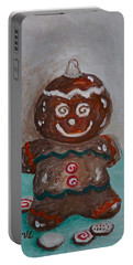 Happy Gingerbread Man Portable Battery Charger by Victoria Lakes