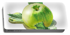 Portable Battery Charger featuring the painting Happy Green Apple by Irina Sztukowski