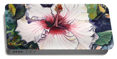 Portable Battery Charger featuring the painting Happy Hawaiian Hibiscus by Marionette Taboniar
