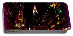 Happy Holidays - Chrysler And 42nd Street - Holiday And Christmas Card Portable Battery Charger