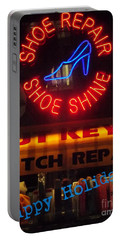 Happy Holidays - Neon Of New York - Shoe Repair - Holiday And Christmas Card Portable Battery Charger