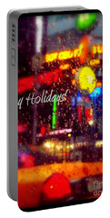 Happy Holidays - Taxi In The Rain - Holiday And Christmas Card Portable Battery Charger