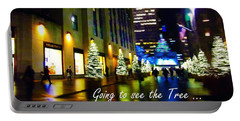 Happy Holidays - The Tree In Rockefeller Center - Holiday And Christmas Card Portable Battery Charger