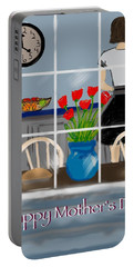 Portable Battery Charger featuring the digital art Happy Homemaker by Christine Fournier