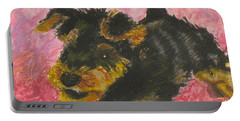 Portable Battery Charger featuring the painting Happy by Jeanne Fischer