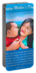 Happy Mom And Babe Portable Battery Charger by Cyril Maza