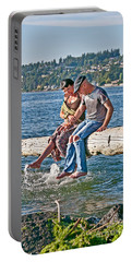 Happy Older Couple Splashing Feet In Water Art Prints Portable Battery Charger