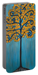 Happy Tree In Blue And Gold Portable Battery Charger