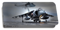 Harrier Gr9 Takes Off From Hms Ark Royal For The Very Last Time Portable Battery Charger by Paul Fearn