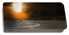 Harvest Moon On The Beach Portable Battery Charger by Randall Branham