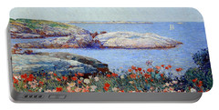 Hassam's Poppies On The Isles Of Shoals Portable Battery Charger by Cora Wandel