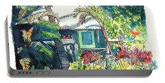 Portable Battery Charger featuring the painting Hawaiian Cottage 3 by Marionette Taboniar