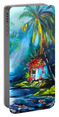 Hawaiian Hut In The Mist Portable Battery Charger