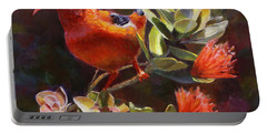 Hawaiian IIwi Bird And Ohia Lehua Flower Portable Battery Charger by Karen Whitworth
