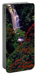 Hawaiian Waterfall With Tulip Trees Portable Battery Charger