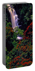 Hawaiian Waterfall With Tulip Trees Portable Battery Charger by Marie Hicks