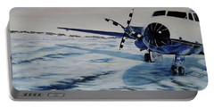 Portable Battery Charger featuring the painting Hawker - Airplane On Ice by Marilyn  McNish