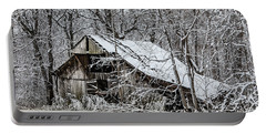 Portable Battery Charger featuring the photograph Hay Barn In Snow by Debbie Green