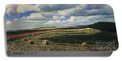Hayrolls On Swirl Field In Latrobe By Christopher Shellhammer Portable Battery Charger