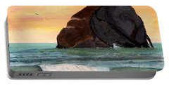 Haystack Rock At Kiwanda Portable Battery Charger by Chriss Pagani