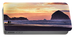 Haystack Rock Beach Walk Sunset Portable Battery Charger