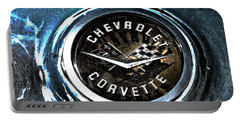 Portable Battery Charger featuring the photograph Hdr Vintage Corvette Emblem Art by Lesa Fine