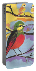 Portable Battery Charger featuring the painting He Aint That Tweet by Kathleen Sartoris