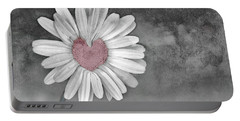 Heart Of A Daisy Portable Battery Charger by Linda Sannuti