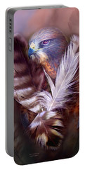 Heart Of A Hawk Portable Battery Charger by Carol Cavalaris