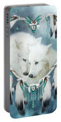Portable Battery Charger featuring the mixed media Heart Of A Wolf by Carol Cavalaris
