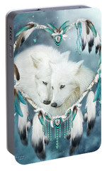 Heart Of A Wolf Portable Battery Charger by Carol Cavalaris