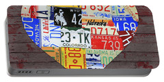 Heart Of America Usa Heartland Map License Plate Art On Red Barn Wood Portable Battery Charger