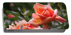 Heart Of Gold Roses Portable Battery Charger by Rona Black