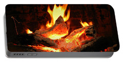 Heart-shaped Ember In Roaring Fire Portable Battery Charger