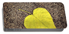 Heart Shaped Leaf On Pavement Portable Battery Charger